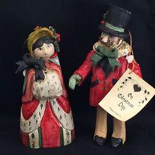 House of Hatten Victorian Man & Woman Ornament Figurine Set 1991 Christmas Calla