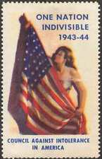 1943-44 Council Against Intolerance In America; Flag, Allegory, Mint Never Hinge