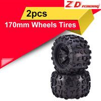 2pcs ZD Racing 17mm HEX 170mm Wheels Tires for Redcat HPI FLUX HSP 1/8 Monster