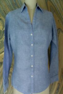 Brooks Brothers Blue 100% Linen Top Shirt Blouse Women's Sz.4 ~Excellent~