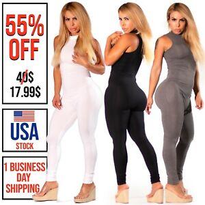 Women Bodysuit Rompers Jumpsuit Bodycon Long Casual Sexy Club wear Back Zipper