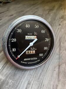 Vintage Stewart Warner 90 MPH Speedometer Gauge SCTA Hot Rod Dash Panel SW