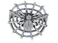 Men's Silver Aurore Boreale Crystal Rhinestone Spider Web Insect Bug Bracelet