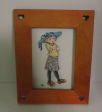 Mary Engelbreit 3D 3-Layered Girl in Hat Framed Picture Photo Art Me 1979