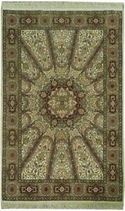 Ivory Fine Quality Dome Design Handmade Area Rug Wool & Silk 4' x 6'