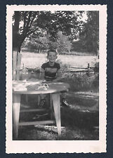 Handsome Boy (ID'd) Sitting in Yard Caledon Ontario Vintage Photograph 1950's