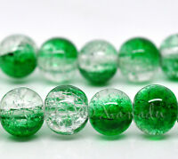 Emerald Green Wholesale 10mm Round Crackle Glass Beads G2243 - 20, 50 Or 100PCs