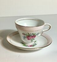Vintage Taylor & Kent Bone China Pale Pink with Roses Tea Cup and Saucer Set