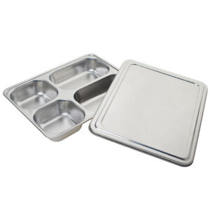 Aspire Stainless Steel Bento Box, Divided Dinner Trays with Cover, 1 Set