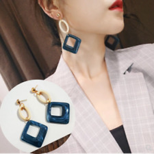 Big Long Earring Blue Gold Drop Acrylic wood Square Geometric Gift Accessories