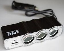 USB Triple Multi Plug Car Adapter - 3 Cigarette Lighter + 1 USB Port