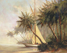 Malarz Leaving Out Coastal Landscapes Palm Trees Tropical Print Poster 28x22