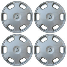 "4 Piece Set SILVER / LACQUER Hub Caps Fits 15"" Inch Steel Wheels Wheel Cover Cap"