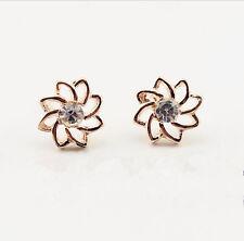 Shiny 14K/14ct Rose Gold Plate Cute Little Daisy Flower Pearl Stud Earrings Gift