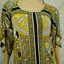 Baby Phat Scarf Print Dress Tunic Size L Stretch Open Back Mini Yellow Black