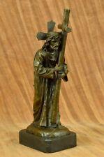 Original Signed Jesus Christ With Cross Bronze Statue Sculpture Figure ART DECO