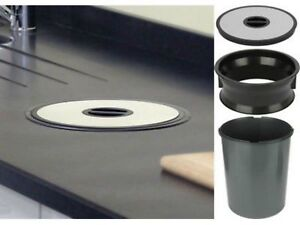 Worktop Waste Bin - 13 Litres, Polished Stainless Steel (Hafele) 503.99.302