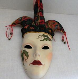 Christmas Holiday Porcelain Jester WALL MASK - Clay Art?
