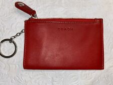 Vintage COACH Red Leather Keychain Card Wallet Coin Multi-Function Purse Fob