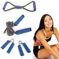 Fitness Training Set mit Softgriffen (blau): Expander + Springseil + Handgrips