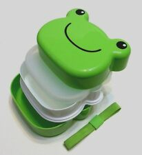 Japanese Children Kids Pink Cute Green Frog 2 tier Plastic Lunch Bento Box NEW