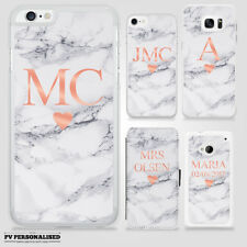 PERSONALISED ROSE GOLD LOVE HEART MARBLE INITIALS NAME CASE FR GALAXY IPHONE HTC