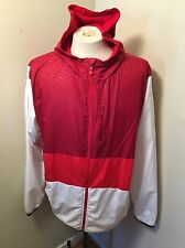 Under Armour Men's Full Zip Hooded Jacket 2XL All Season Gear HB3 Red White Coat