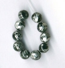 TEN (10) CARVED SILVER PLATED ONYX 8MM DRAGON BEADS - 0380