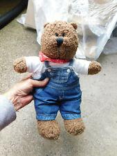 Vtg Baby Gap Brown Teddy Bear Plush Denim Overalls Shirt Red Bandana Curly Cute!
