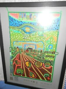 Original Hundertwasser mit originalem Rahmen und blendfreies Glas