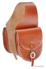 Western Saddle Bags -  Basket Stamp - Medium Tan Leather