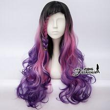 68CM Dye Long Curly Ombre Black Mixed Purple Punk Lolita Women Cosplay Wig+Cap
