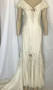 Victorian Wedding Dress Ivory Lace with Self Train, Off Shoulder, Size 16