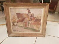 Tableau peinture ancienne église de village signée à déchiffrer
