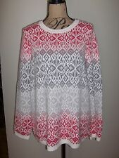 TALBOTS Ombre Geo Fair Isle LS Sweater NWT Multi 1X $99