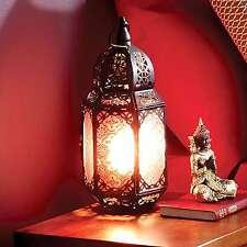 Large Moroccan Table Lamp Lantern Marrakech Red Metal Antique Brass Bronze Light