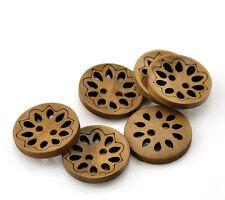 10 botones de color café Hueca 23mm Costura Álbum de Recortes Tarjetas Gratis Reino Unido P&p