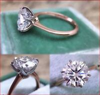3Ct Round Cut Moissanite Diamond Solitaire Engagement Ring 14k Rose Gold