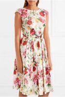 $1295 Dolce & Gabbana AUTH NEW Pink Red Multi Floral Poplin Sleeveless Dress 44