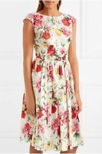 $1295 Dolce & Gabbana AUTH NWT Pink Red Multi Floral Poplin Sleeveless Dress 44