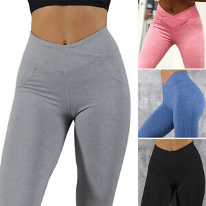 Womens Push Up Leggings Ruched Yoga Gym Pants Fitness Butt Lift Stretch Trousers