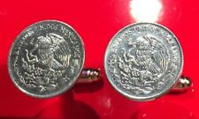 Mexican Eagle Killing Snake Mexico Coat of Arms Stainless Steel Coin Cufflinks!