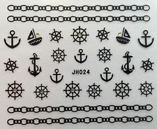 Nail Art 3D Decal Stickers Chain Anchor Sail Boat Helm JH024