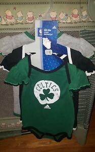 NWT Boston Celtics Adidas Infant Baby Girls 3 Piece Bodysuit Creeper Set 18 Mon.