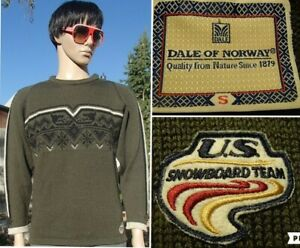 RARE! vintage DALE OF NORWAY norwegian wool sweater US SNOWBOARD TEAM men S