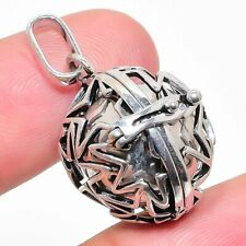 """Sound Ball Pendant 1.30"""" d34 Gemstone 925 Silver Plated Silver Jewelry"""