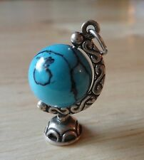 Sterling Silver 3D 23x14mm Movable Teacher School Globe Charm with Blue Bead