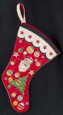 Vtg 50's CHRISTMAS Printed Felt Stocking Santa Ornmanet Merry