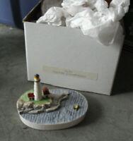 """Vintage Sebastian Miniatures Signed Boston Light House Figurine 2"""" Tall MIB 3124"""
