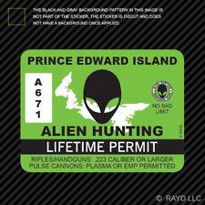 Prince Edward Island Alien Hunting Permit Sticker Decal Canada ufo pe